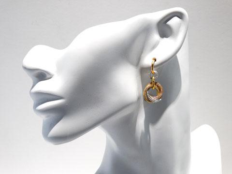 3 Tone Diamond Earrings