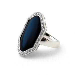 18ct Onyx & Diamond Dress Ring