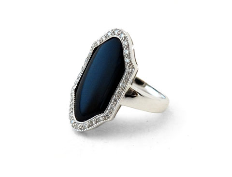 18ct Onyx & Diamond Dress Ring