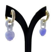 18ct Yellow Gold Diamond & Jade Drop Earrings