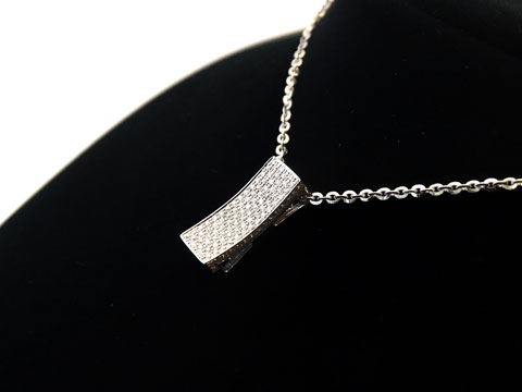 18ct Rectangular Diamond Pendant