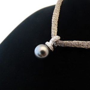 18ct White Gold Black Tahitian Pearl and Diamond Pendant