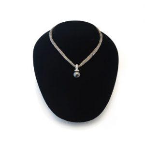 18ct White Gold Black Tahitian Pearl and Diamond Pendant