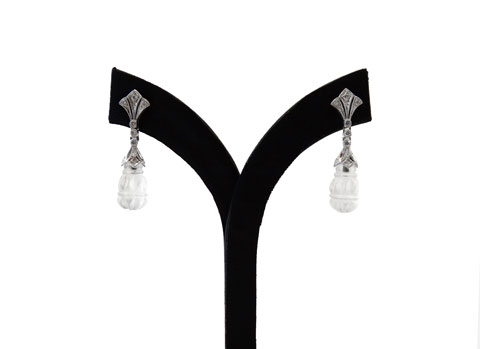 9ct White Gold and Diamond Drop Earrings