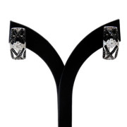 18ct White Gold Black and White Diamond Earrings