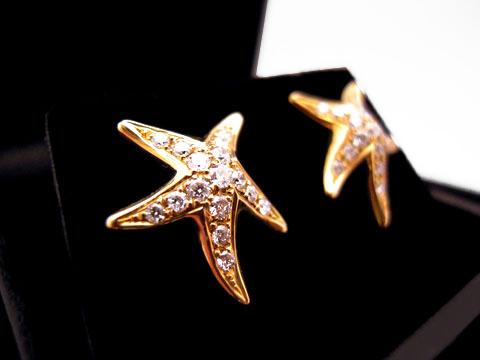 Yellow Gold Starfish Earrings