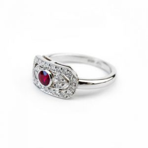 Ruby & Diamond Panel Ring