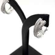 Diamond Crossover Huggie Earrings