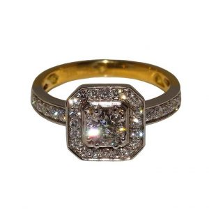 Square Halo Design Diamond Ring