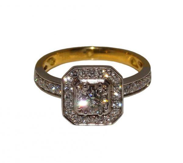 Square Halo Design Diamond Ring