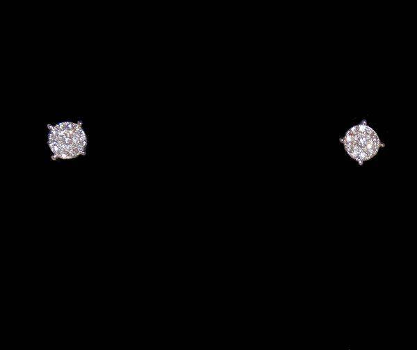 Diamond stud cluster earring