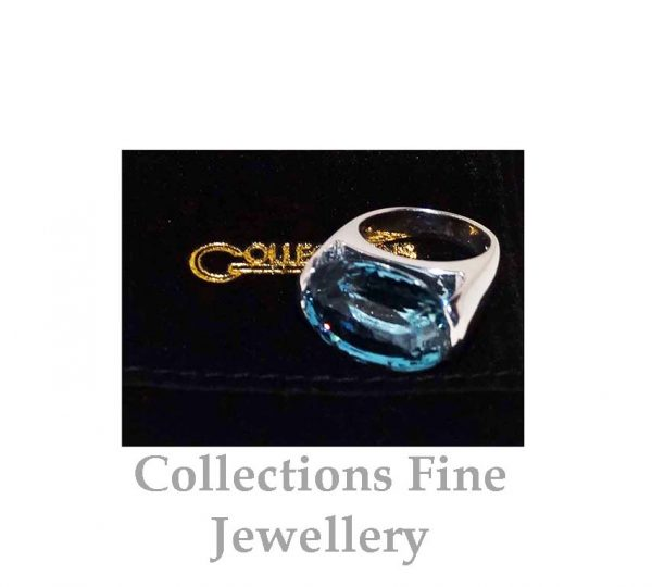 Blue Topaz and White Gold Ring